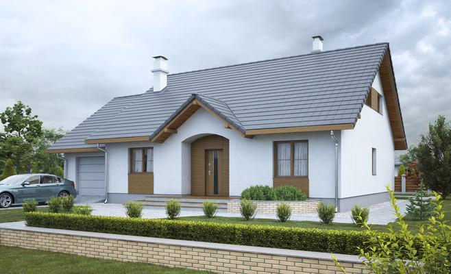 projekt Groszek z garażem dach dwuspadowy opał stały